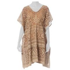 Morphew Collection Ecru & Brown Cotton Lace Tunic Kaftan Dress