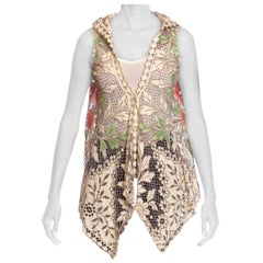 MORPHEW COLLECTION Ecru Cotton Lace Boho Hooded  Vest With Hand Painted Highlig