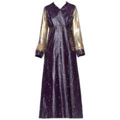 MORPHEW COLLECTION Eggplant Purple Crystal Studded Pleather Maxi Coat With Gold