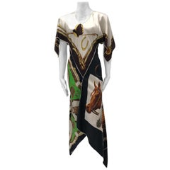 MORPHEW COLLECTION Equestrian & Status Print Kaftan Dress Made From 1970S Vinta