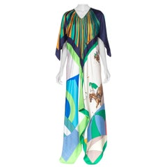 Morphew Collection Geometric & Equestrian Print Kaftan Made of 1960's Silk Scarv
