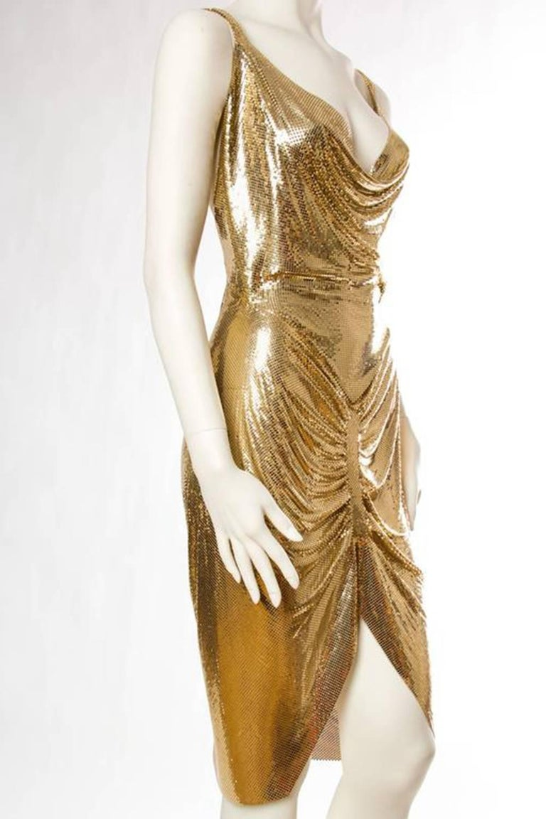 Morphew Collection Gold Metal Mesh Dress  In New Condition For Sale In New York, NY