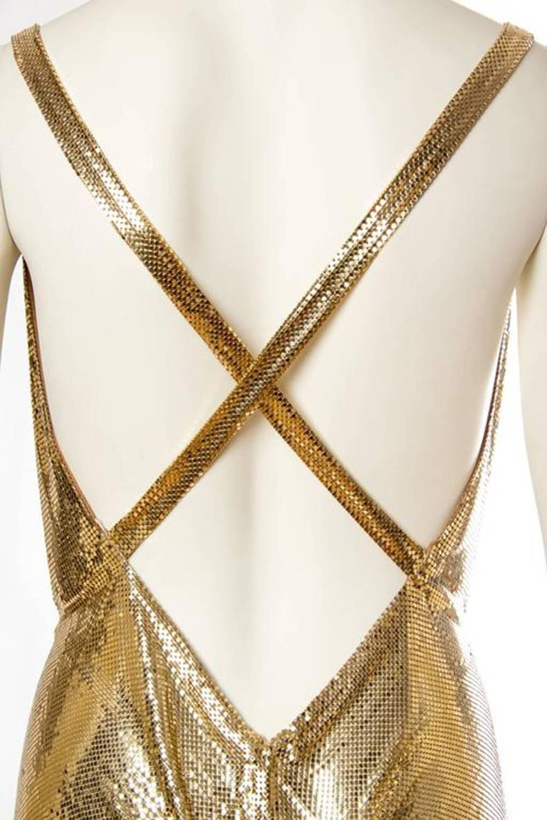 Morphew Collection Gold Metal Mesh Dress  For Sale 2