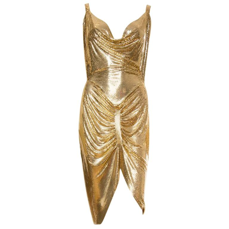 Morphew Collection Gold Metal Mesh Dress  For Sale