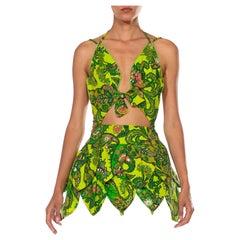 MORPHEW COLLECTION Green Paisley Cotton Mini Party Dress