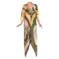 MORPHEW COLLECTION Green Silk Equestrian Status Print Kaftan Dress Made From 19