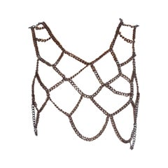 MORPHEW COLLECTION Gunmetal Draped Chain Top
