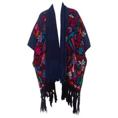 MORPHEW COLLECTION Hand Embroidered Cotton & Acrylic Kimono Sleeve Peacock Dust