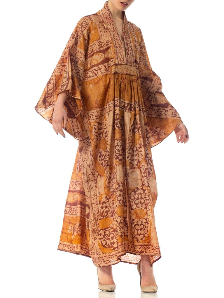 Women's  Morphew Collection Hand Printed Silk Batik Kaftan For Sale