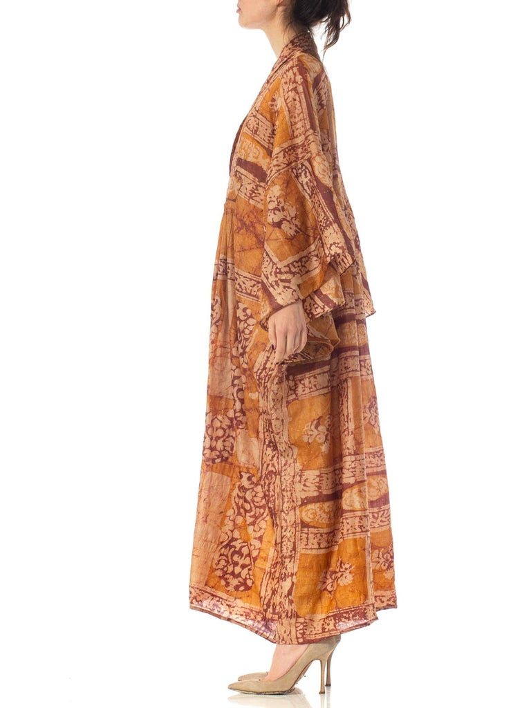Morphew Collection Hand Printed Silk Batik Kaftan For Sale 1