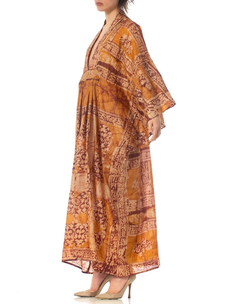 Morphew Collection Hand Printed Silk Batik Kaftan For Sale 2