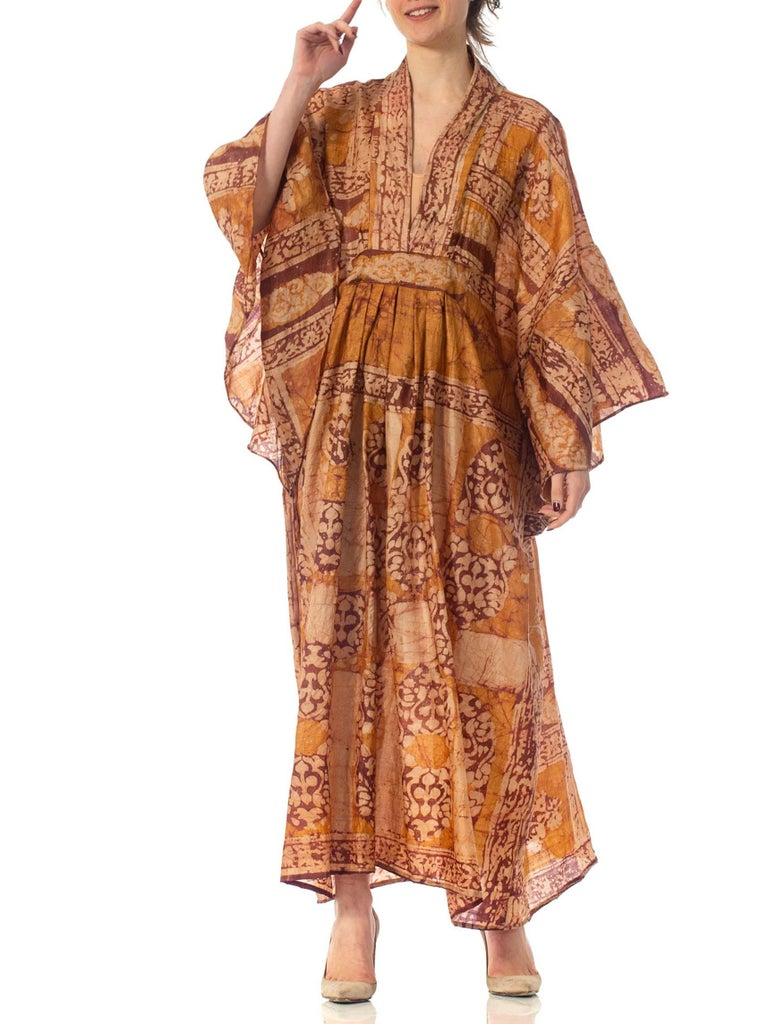 Morphew Collection Hand Printed Silk Batik Kaftan For Sale 3