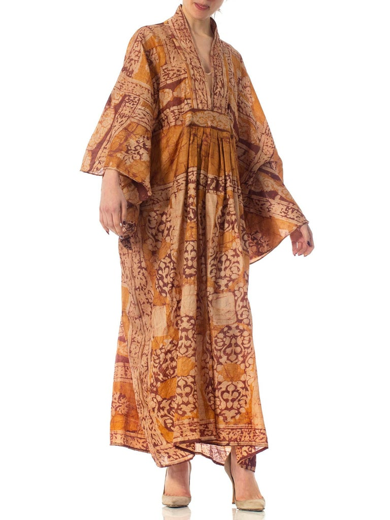 Morphew Collection Hand Printed Silk Batik Kaftan For Sale 4