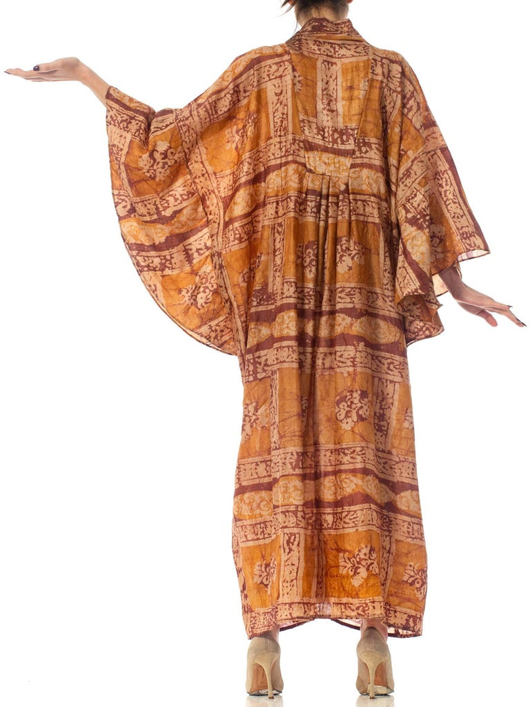 Morphew Collection Hand Printed Silk Batik Kaftan For Sale 5