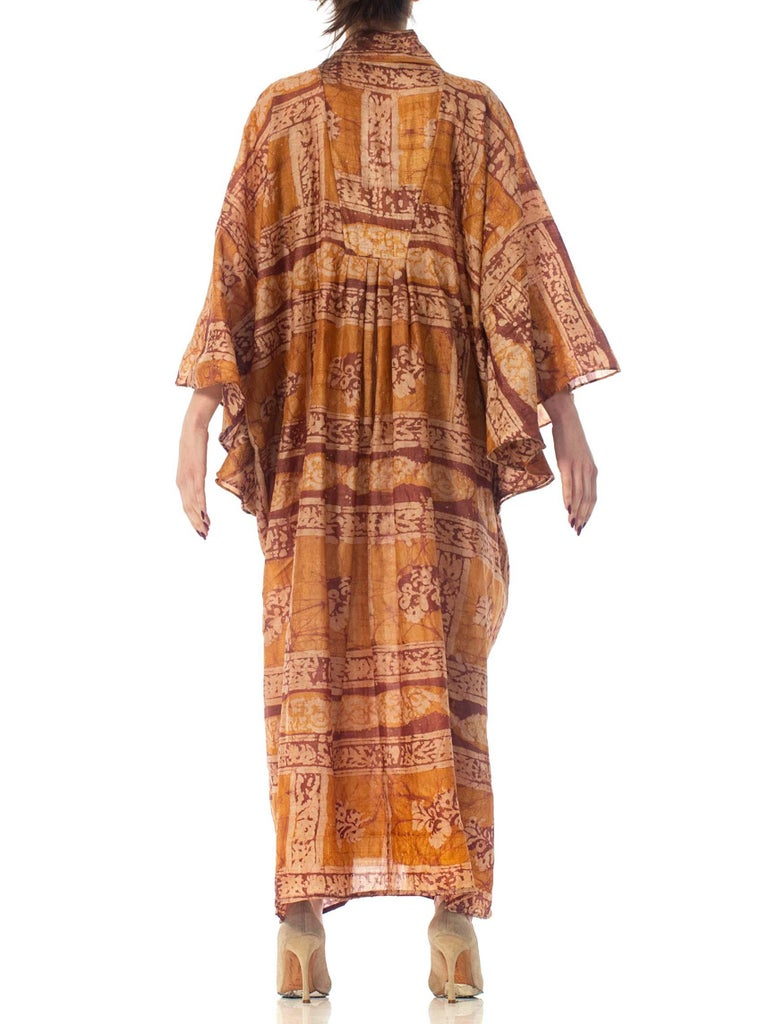 Morphew Collection Hand Printed Silk Batik Kaftan For Sale 6