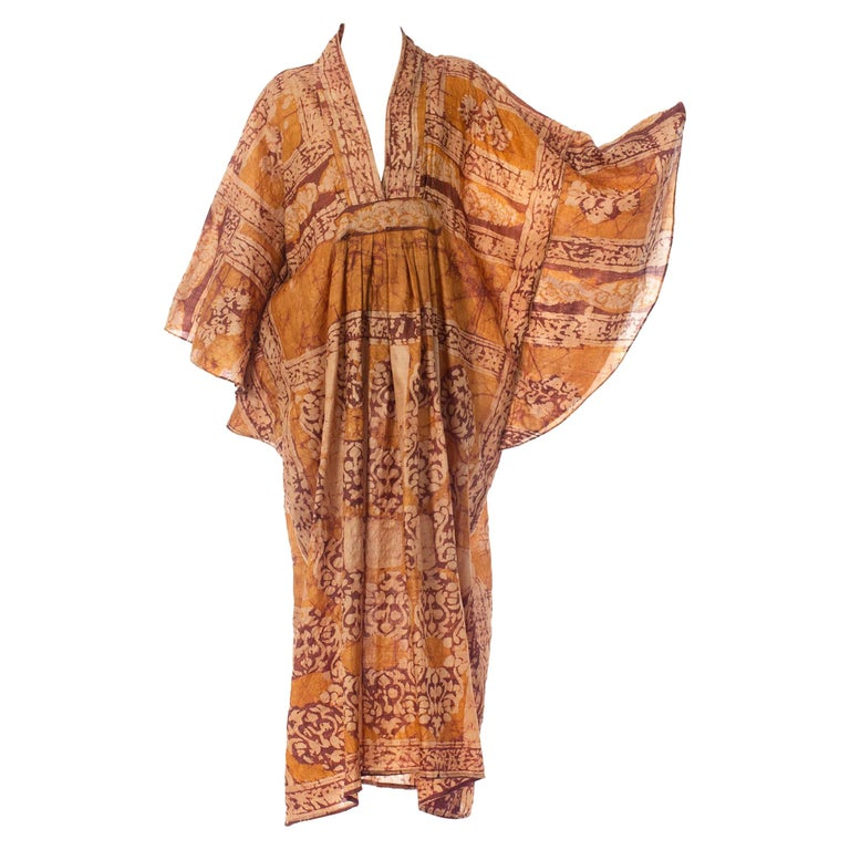 Morphew Collection Hand Printed Silk Batik Kaftan For Sale