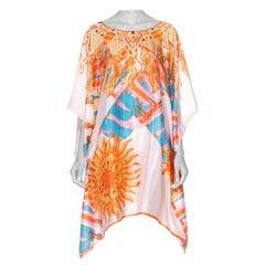 Morphew Collection Hermes Style Sun Print Silk Scarf Tunic Kaftan