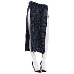 MORPHEW COLLECTION Indigo Blue Cotton Handwoven Hand Block Printed Wrap Pants