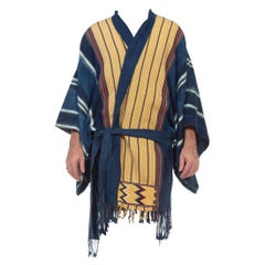 MORPHEW COLLECTION Indigo Blue Hand Woven Cotton Patchwork Duster