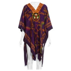 MORPHEW COLLECTION Purple & Brown Silk Ikat Kaftan Handmade With Victorian Lace
