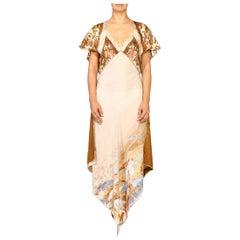 Morphew Collection Pastel Earthtone Silk Backless Three- Scarf Dress