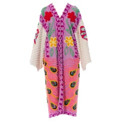 Morphew Collection Purple Cotton Chenille Duster With White Sleeves