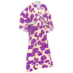 MORPHEW COLLECTION Purple & Cream Japanese Kimono Silk Kaftan