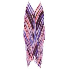 MORPHEW COLLECTION Purple & White Polyester Chiffon Tie Dye Brushstroke Printed