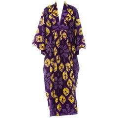 Morphew Collection Purple & Yellow Kaftan Made From 1950S Japanese Shibori Tie-D