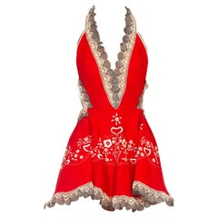 MORPHEW COLLECTION Red Hand Embroidered Cotton Cocktail Dress With Hand-Made La
