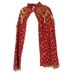 MORPHEW COLLECTION Red Metallic Printed Velvet Silk Lined Cape With Real Gold B