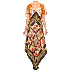 Morphew Collection Red & Pink Bias Cut Silk Backless Status Print 3-Scarf Dress
