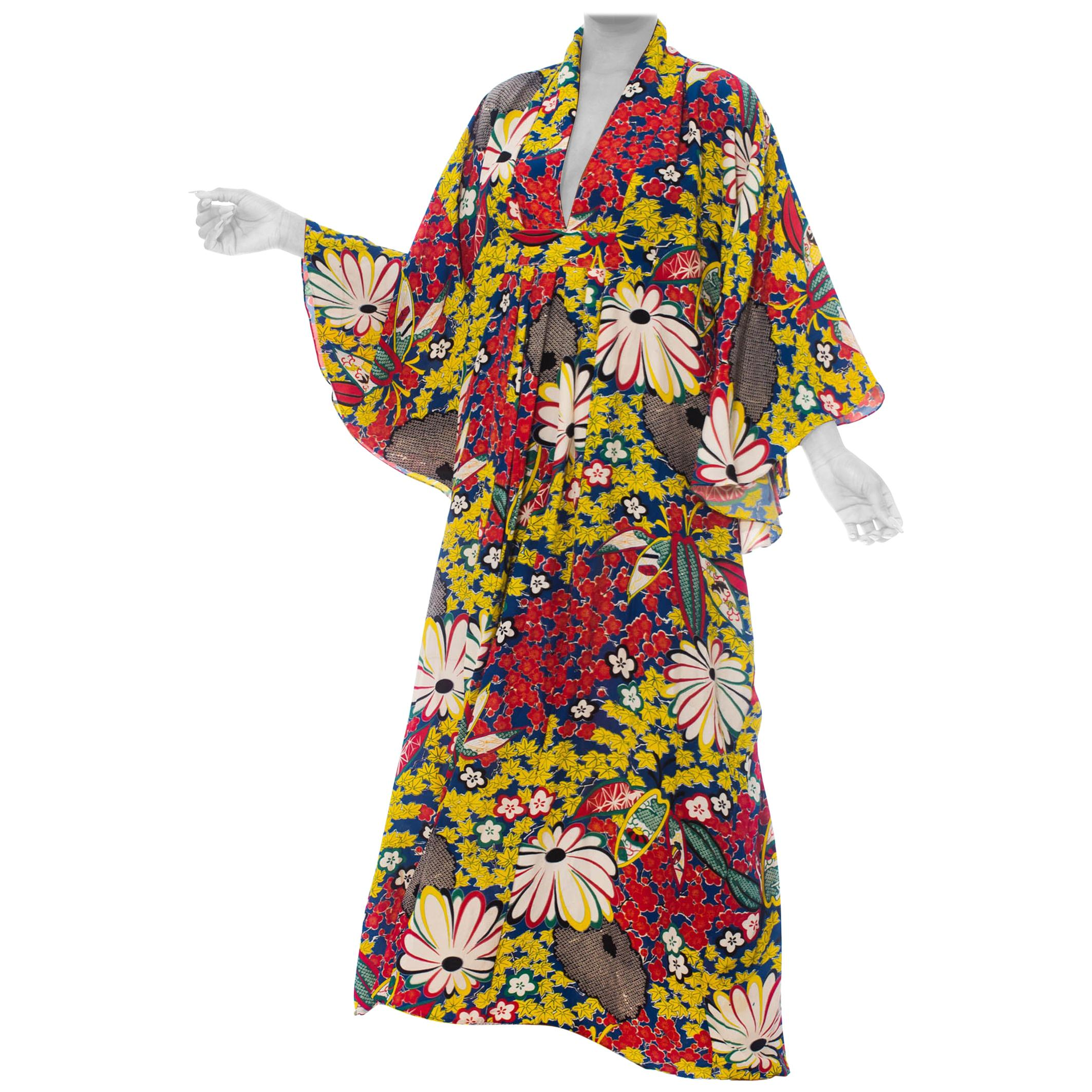 MORPHEW COLLECTION Red, Yellow & Blue With Black Shibori Flowers Kaftan Made Fr
