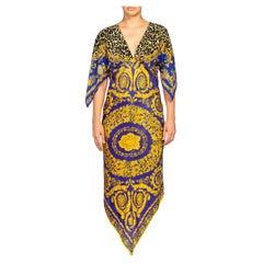 MORPHEW COLLECTION Royal Blue & Gold Status Animal Print Silk Two-Scarf Dress