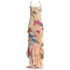 Morphew Collection Ruffled Silk Victorian Quilt Dress