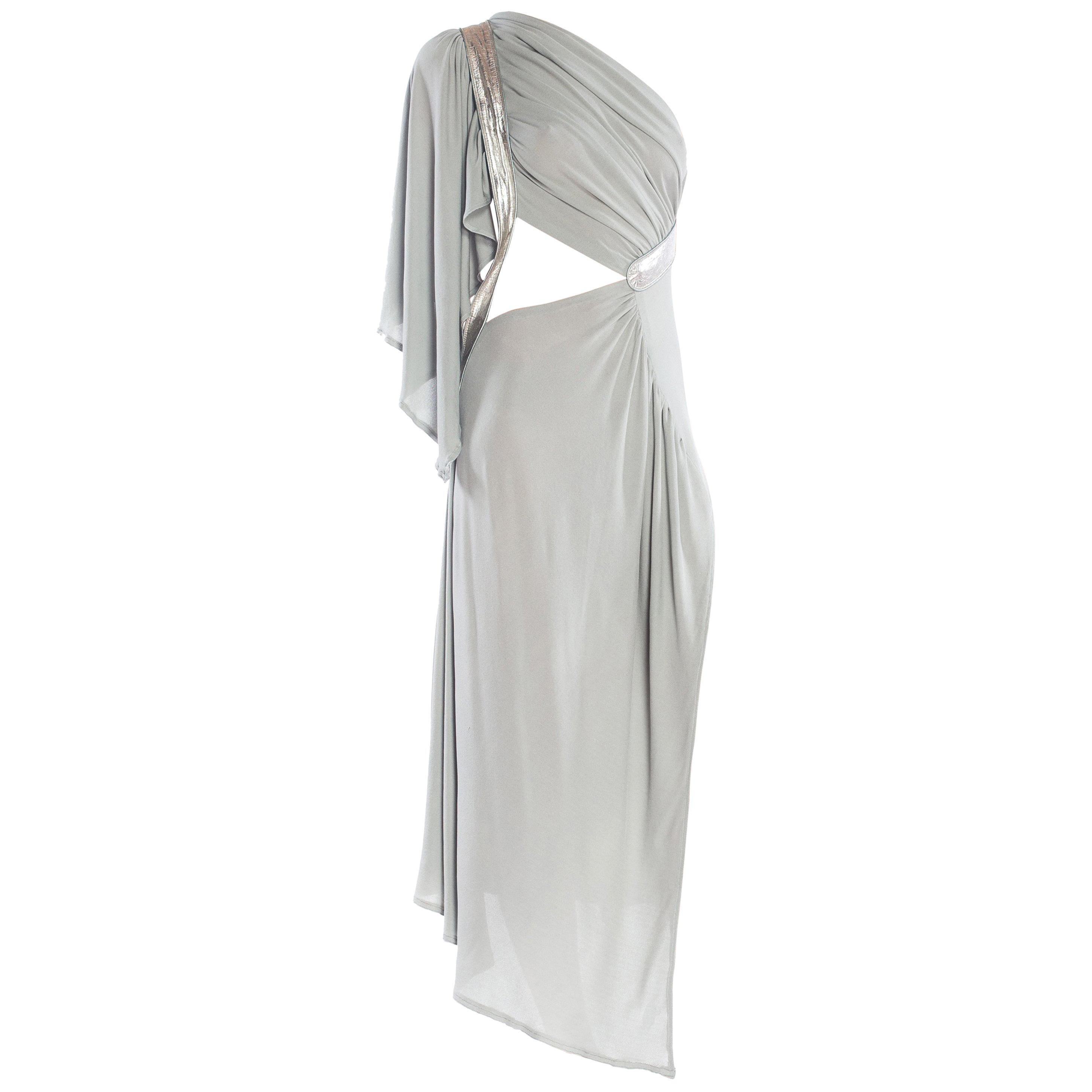 MORPHEW COLLECTION Seafoam Grey Silk Jersey Draped Cut-Out Cocktail Dress
