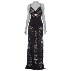 Morphew Collection Sheer Handmade Lace Gown With 1920s Beaded Peacock Top