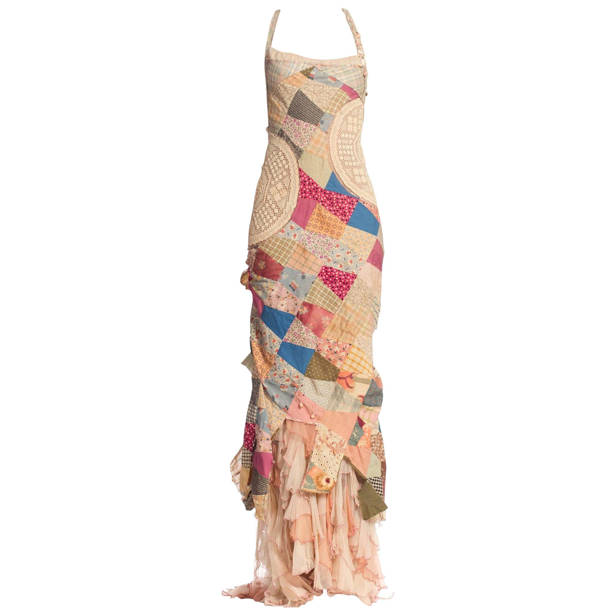 MORPHEW COLLECTION Silk & Cotton Antique Patchwork Quilt Gown With Chiffon Ruff