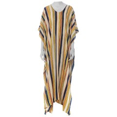 Morphew Collection Silk Crepe De Chine Kaftan Made From Vintage 70S Striped Fab