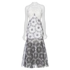 MORPHEW COLLECTION Black & White Silk Lined Gown Made From 1960'S Floral Daisy