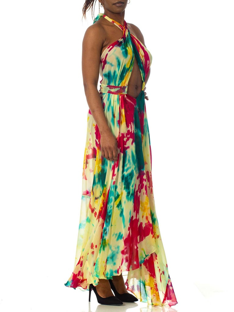 Morphew Collection Tie Dyed Silk Chiffon Backless Halter Dress In Excellent Condition For Sale In New York, NY