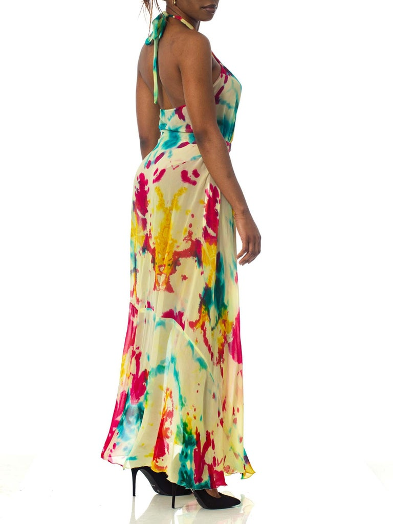 Women's Morphew Collection Tie Dyed Silk Chiffon Backless Halter Dress For Sale