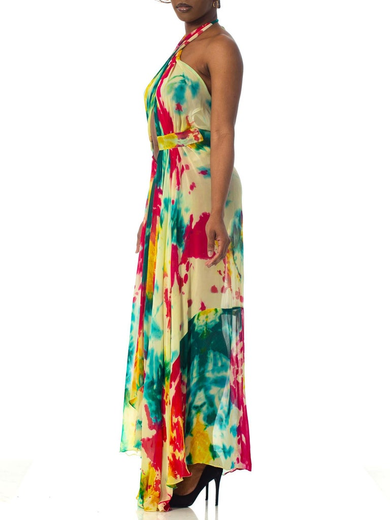 Morphew Collection Tie Dyed Silk Chiffon Backless Halter Dress For Sale 1