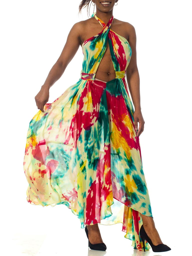 Morphew Collection Tie Dyed Silk Chiffon Backless Halter Dress For Sale 3