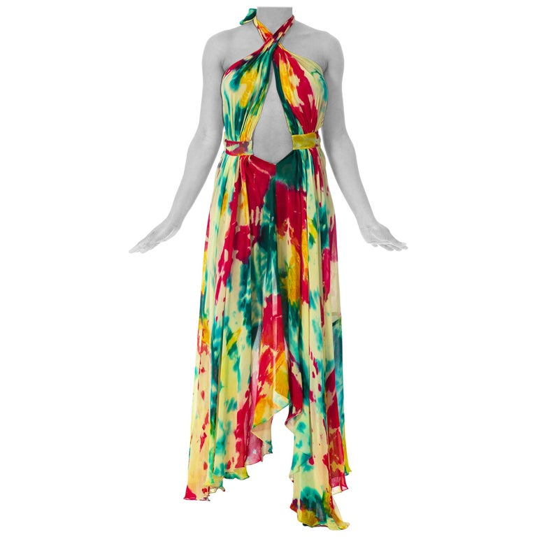 Morphew Collection Tie Dyed Silk Chiffon Backless Halter Dress For Sale