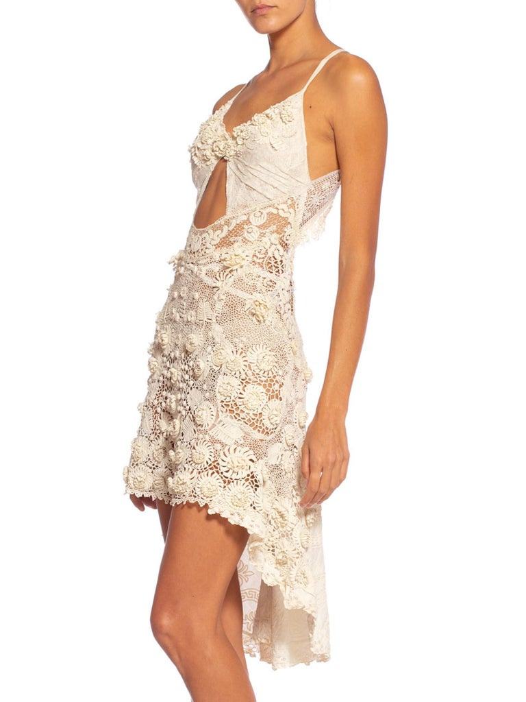 Morphew Collection Victorian Irish Crochet Hand Made Lace Dress For Sale 1