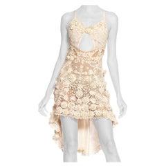 MORPHEW COLLECTION Backless Hand-Made Victorian Irish Crochet Lace Mini Dress