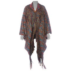 MORPHEW COLLECTION Victorian Silk Jaquard Paisley Cocoon With Hand Knotted Frin