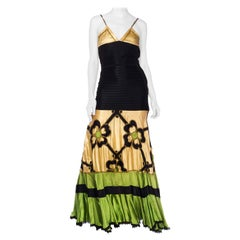 Morphew Collection Vintage 1940's Satin Gown With Gold & Green Appliqué