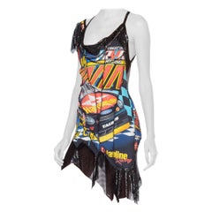 Morphew Collection Vintage 90's Nascar Metal Mesh T-Shirt Dress With Chains